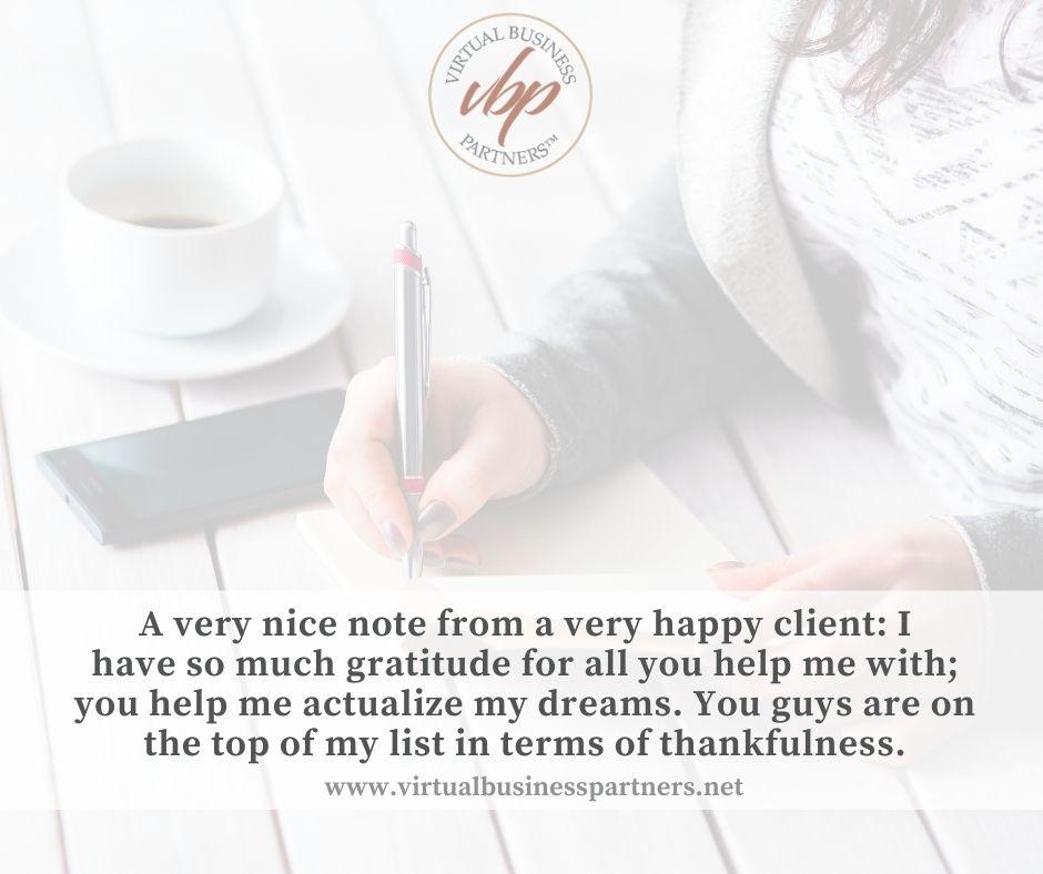 client gratitude